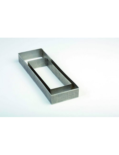 Moule rectangle en acier inoxydable micro perforés 7x19cm H 3.50cm - Crostate