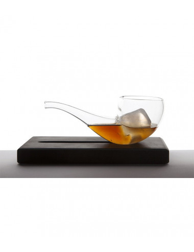 Verre Smoke Drink + support en marbre - Pipe en verre thermorésistant
